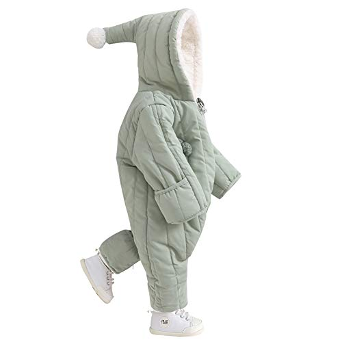 (Baby Snowsuit Infant Snuggly Bunting Boy Puffer Romper Fleece Lined Olive Suit Winter Outfit Thicken Outerwear for Newborn and Infant with Peanut)