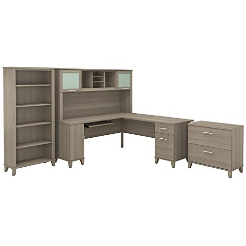 Bush Furniture Somerset 72W L Shaped Desk with Hutch, File Cabinet and Bookcase in Ash Gray