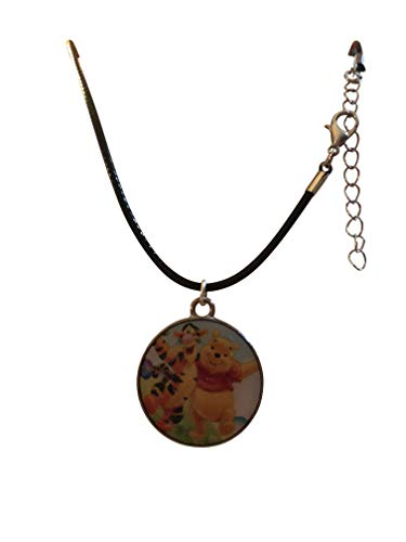 """Porter Gallery USA Winnie Pooh & Tigger, Light Glitter Medallion on Waxed Cord Necklace 16-18"""" Gift Boxed Ornate Organza Gift Bag"""