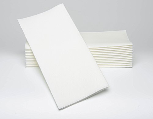 Dinner Napkins - Decorative, WHITE - Cloth Like and Disposable - Large 17