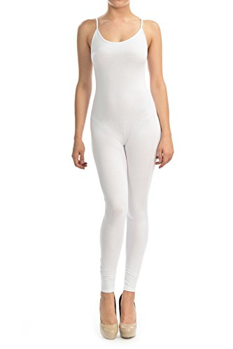 JJJ Fashion 7Wins Women Cotton Lycra Tank Catsuit Sexy Tight American Strapped Catsuit (Small, White) ()