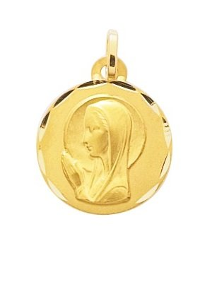 VIERGE - Médaille Religieuse - Or 9 carats - Hauteur: 15 mm - www.diamants-perles.com