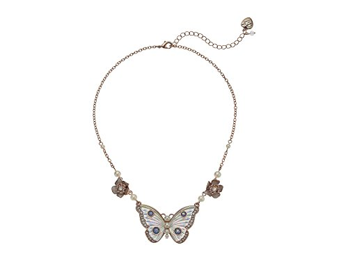 Betsey Johnson Flower and Butterfly Pendant Necklace, White, One Size
