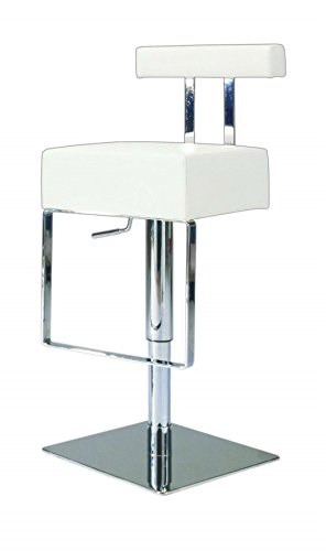MILAN WHT Salma Adjustable Height Swivel Stool, White