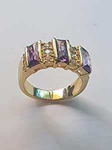 GOLD PLATED RING WITH PURPLE STONE AND CUBIC ZIRCONIA