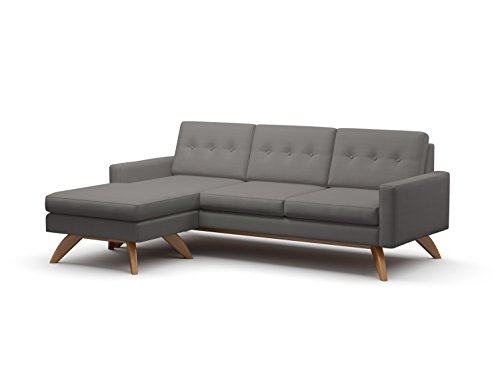 TrueModern Luna 3 WAY Loft Sofa with Fabric, Walnut Finish,
