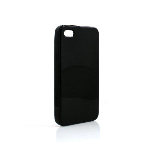 System-S TPU Silikonhülle Tasche Case Hülle Cover Skin Schutzhülle Schwarz für Apple iPhone 4 4S
