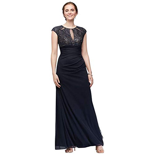 Lace Bodice Keyhole Mother of Bride/Groom Gown with Mesh Ruched Cascade Style A22197, Navy, 18