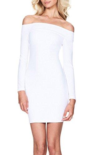 Dress Party Mini Off Blansdi Long Bandage Shoulder Sleeve White Clubwear Bodycon Women 1Sxn8qz6vn
