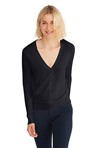 State Cashmere Women's Lightweight Long Sleeve Button Up Basic Sheer Cardigan Black