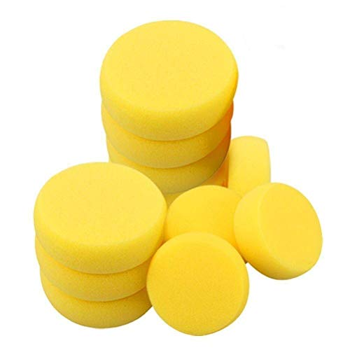 Jiabetterniu 25 Pack Round Synthetic Silk Watercolor Sponges for Painting,Art Crafts,Ceramics,Pottery,Household Use,Yellow,2.75 inch