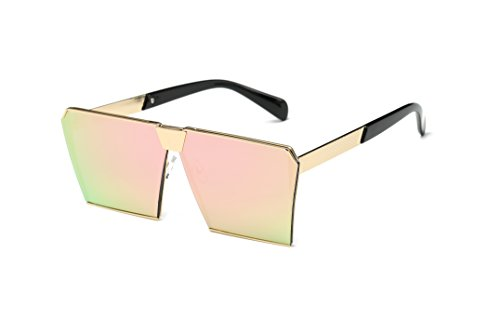 Charlie Jr. Fashion Oversized Square Sunglasses Metal Frame Flat Top Mirrored Sunglasses - Gold Frame Pink - Jr Sunglasses 2017