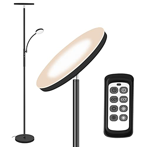 Stehlampe LED Dimmbar,Totofac 3 Farbtemperaturen Superhelle Stehlampen, 27W Hauptlicht und 7W Seitenleselampe für Wohnzimmer, Schlafzimmer, Büro, Arbeiten mit Fernbedienung und Touch-Steuerung