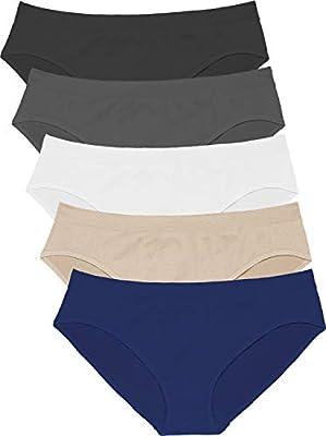 Areke Women's Seamless Underwear 5-Pack Mid/Low Rise Bikini Briefs Soft Stretch Cheekini Hipster Panties