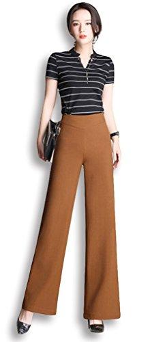 Lixmee Mujer Cintura Alta Color Sólido Loose Amplia Pierna Pantalones _05 Brown