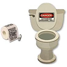 Hysterically Funny Toilet Decals PLUS Funny Toilet Paper - Gag Gift Joke Bundle (Danger Authorized Personnel Only Decal & Straight Outta Your A$$ Toilet Paper)