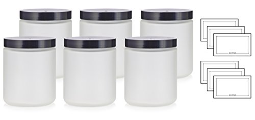 Large Clear Frosted Glass Straight Sided Jar with Black Lids - 8 oz / 240 ml (6 pack) + Labels