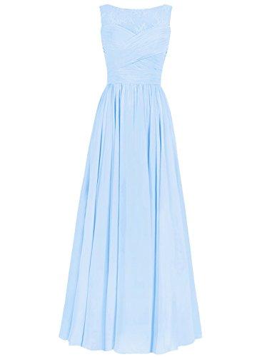 A Festkleider Hochzeitskleider Brautjungfernkleid Chiffon Himmelblau Lang Linie Ballkleider Abendkleider X4xwqOt