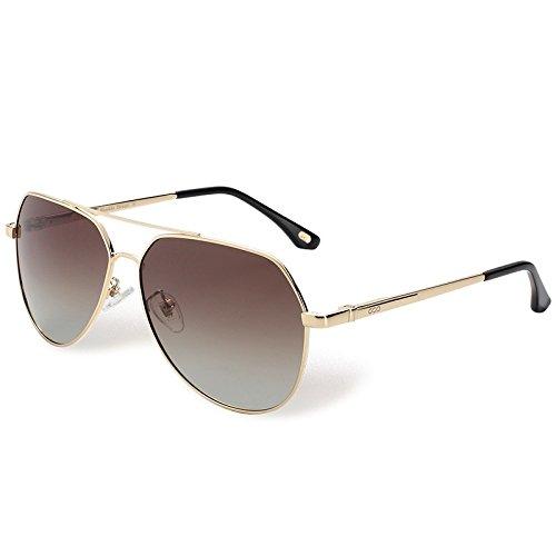 aviador piloto en Brown gafas UV Sunglasses polarizadas TL sol metal Mujer Hombre gafas de plateado400 zqxSwv8