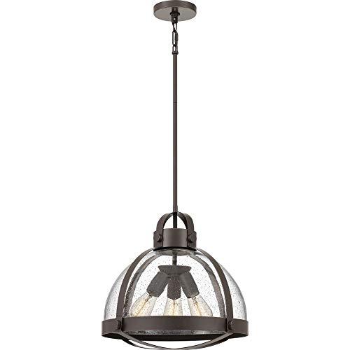 Quoizel QF4023PN Tyler Seedy Glass Pendant Ceiling Lighting, 3-Light, 300 Watts, Palladian Bronze (16