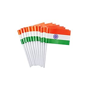 aarav international Pragati Pro Indian flag – 7 inch – pack of 10 – republic day, independence day