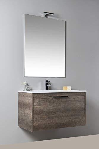 SOSPESO con cassettone da 70 cm MODERNO Neve MOBILIA Mobile da bagno con LAVABO e SPECCHIERA BIANCO