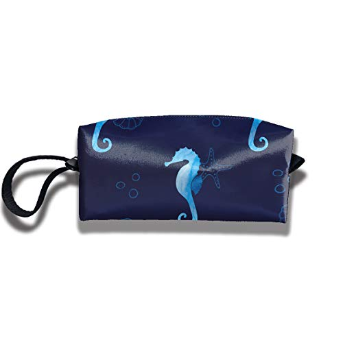 RZM YLY Blue Sea Horses and Starfishes Print Classic Cosmetic Pouch Bag Cool Toiletry Purse Travel Makeup Bag Pouch with Zipper