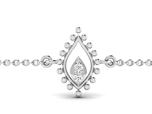Or Blanc 9 ct Bracelet Diamant , 0.04 Ct Diamant, GH-SI, 0.31 grammes.