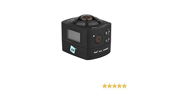 NK AC3078-360 - Cámara de acción 360º, 8 MP con gran angular, Carcasa WaterProof incluida, WiFi, Full HD 1080p, LCD 2in, color negro (Reacondicionado)