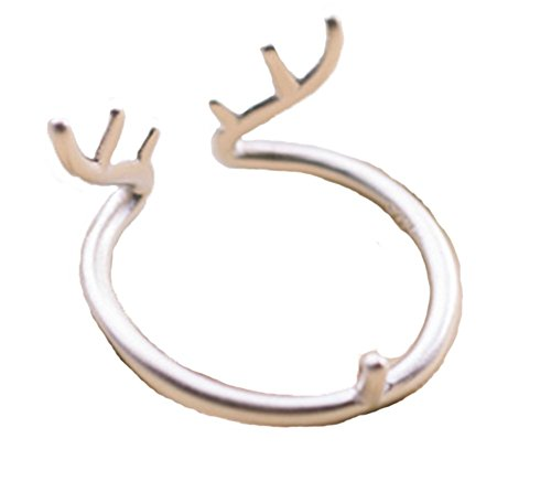 Pettstore Women Girl Lady Antler Elk Animal Open Ring Finger Ring Adjustable - Elk Ring