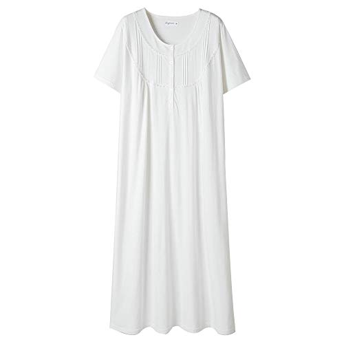 Solid Long Cotton - Keyocean Women's Nightgowns 100% Cotton Lace Trim Short Sleeve Solid Long Sleepwear for Women (M, Cream)