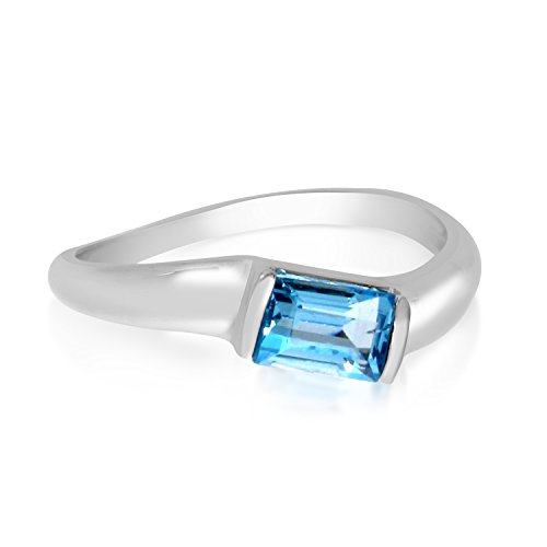 0.40 Carat (ctw) 14k White Gold Baguette Blue-Topaz Solitaire Twist Swirl Promise Fashion Ring (6 x 3 MM) - Size 9.5 (Baguette Swirl Bypass Ring)