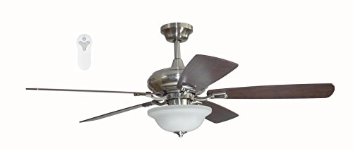 Litex TLEII52BNK5L Brushed Nickel 52-inch Ceiling Fan with Quick Connect Five Reversible Blades Light Maple/Driftwood