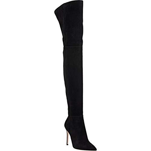 HN HN HN Ginocchio 46 black a Polpaccio Boots Taglia Grigio al Nero 35 Alta Stivali Alto Stivali Marrone Scamosciato Donna Spillo Coscia Tacco Tacco 4R4qxr1w