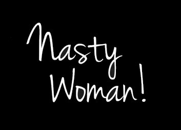 [Nasty Woman Political Decal Vinyl Sticker|Cars Trucks Vans Walls Laptop| White |5.5 x 3.75] (Price Is Right Costume)