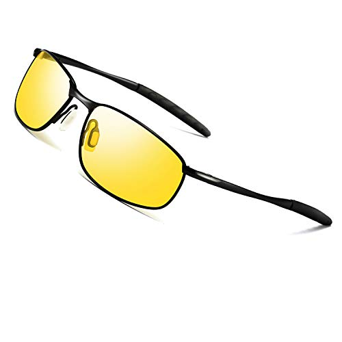 Night Vision Glasses for Driving - FEIDU HD night driving glasses anti glare polarized mens women glasses (yellow/black, 2.04)