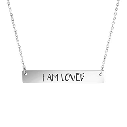 I Am Loved Pendant Bar Necklace Love Gifts Jewelry Women Girls
