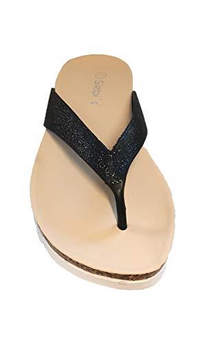 Y strandschuh Negro Campbell Corcho Zapatillas Mujer Con Scarpa Flip Tacón Linea Baño Sintético Zehensteg WxC68fq4wY