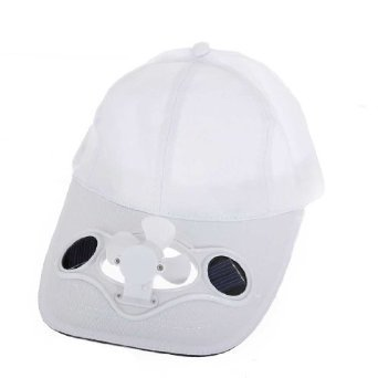 Sun Moon Solar Powered Air Fan Cooled Baseball Hat, White Fan Baseball Golf Hat