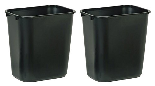 Rubbermaid Commercial FG295600BLA Plastic Deskside Wastebasket, 28-1/8-quart, Black, 2 Cans