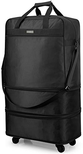 Hanke Expandable Foldable Suitcase Luggage Rolling Travel Bag Duffel Tote Bag for Men Women Lightweight Carry-on Suitcase Large Capacity Spinner Luggage with Universal Wheel - 20, 24, 28-Inch