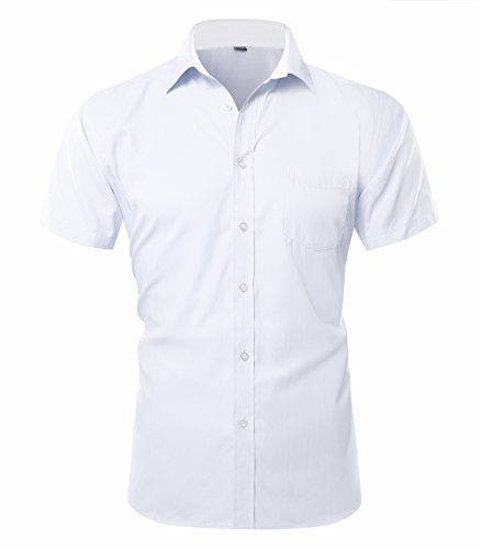 Musen Men Short Sleeve Dress Shirt Slim Fit Solid Shirts with Pocket White 41 by Musen Men