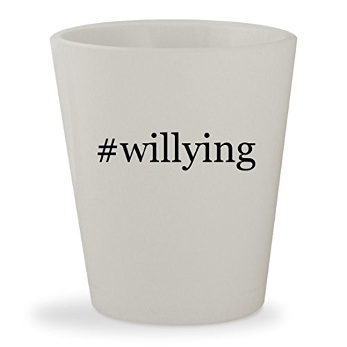 #willying - White Hashtag Ceramic 1.5oz Shot Glass