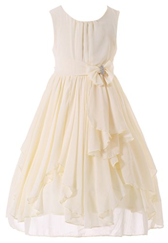 Bow Dream Flower Girl Dress Bridesmaid Ruffled Chiffon Cream Ivory 6