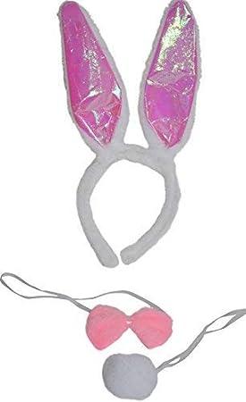 DaMaro Bunny Hasen Damenkostüm-Set Hase Weiß pink 3-teilig schwarz Einheitsgröße mit Ohren Schwänzchen und Fliege