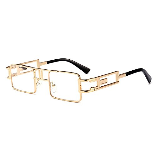 MINCL/Hip-Hop Square Metal Small Frame Clear Color Lens Sunglasses ()