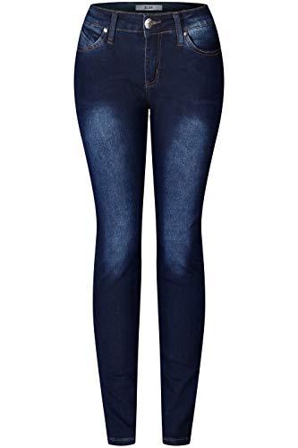 2LUV Women's Stretchy 5 Pocket Skinny Solid Dark Denim Jeans Dark Denim - Skinny 5 Pocket Jean