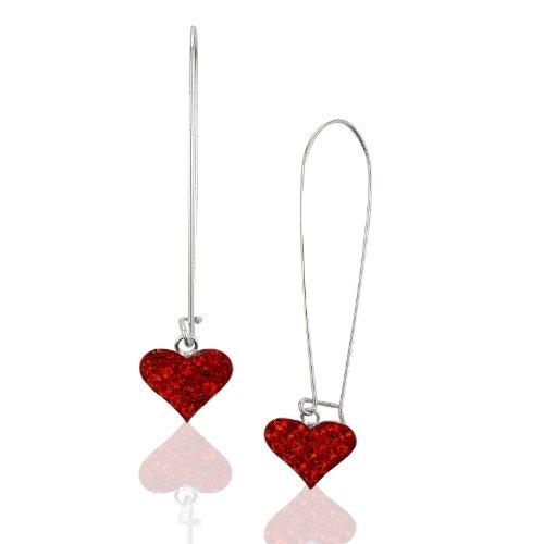 Crystal Studded Heart Earrings - 925 Sterling Silver Red Crystal Glass Studded Heart Studded Dangle Earrings