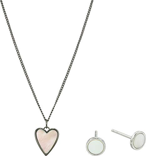 Fossil Women's Sterling Heart Necklace and Earrings Gift Set Silver One Size