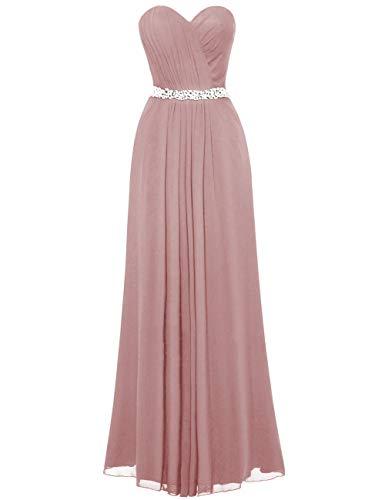 Women's Long Chiffon Sweetheart Bridesmaid Dresses Prom Gowns Pleats Beaded Blush US20W